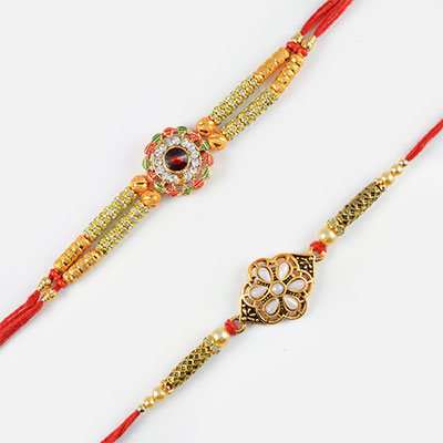 Coloured Diamond Studded and Silver Pearl Rakhi Set