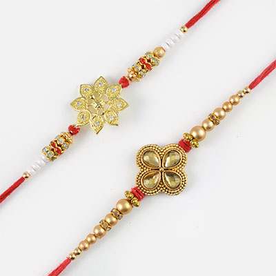 Shiny Golden with Diamonds Rakhi Set