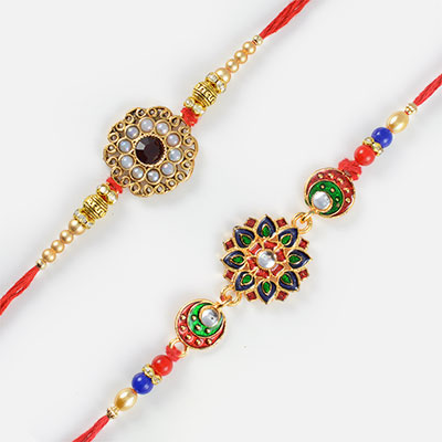 Charming Silver Pearls and Multi-Colored Floral Design Rakhi Set