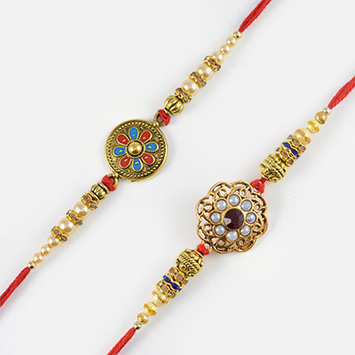 Handcrafted Round Pearl and Moti Rakhi Set