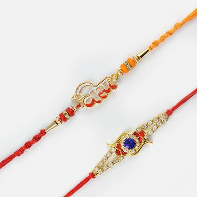 Veera and Muti-Coloured Diamond Rakhi Set