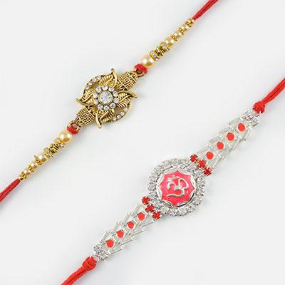 Golden Floral Designed and Auspicious Om Rakhi Set