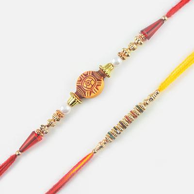 Lovely Colourful Diamonds and Traditional Rakhi Set of 2