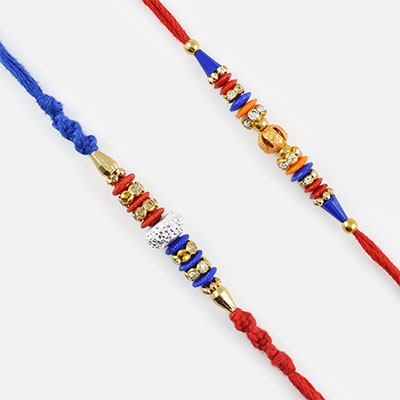Blue and Red Toned Rakhi Set of Two