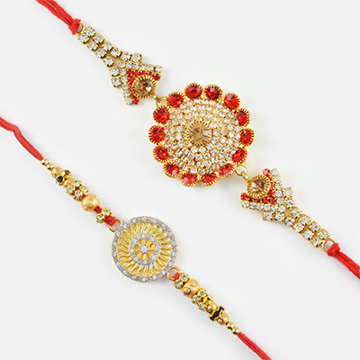 Beautiful Red and Silver Diamons Rakhi Set of 2