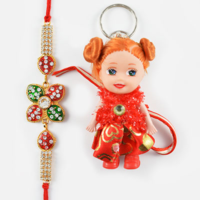 Kundan Meena and Diamond Worked Rakhi along with Cute Doll Kids Rakhi