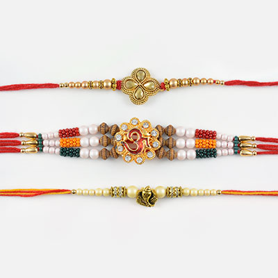 Beautiful Pearls with Auspicious Mauli Thread Rakhi Set of 3