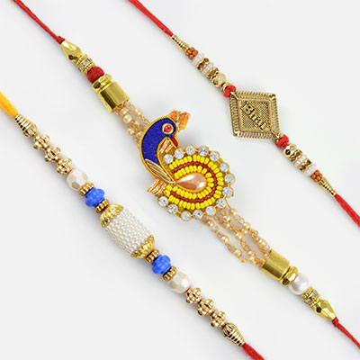 Set of 3 Rakhis - Glossy Pearls and Beads Rakhi with  Bhai Rakhi