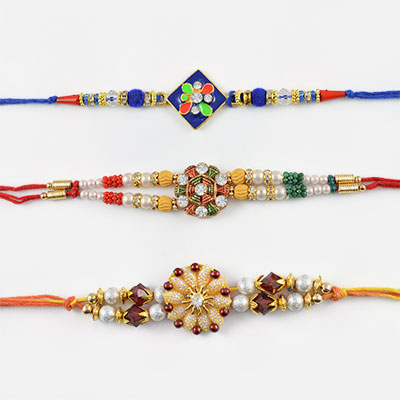 Mixture of Traditional and Modern Rakhi Combo of 3