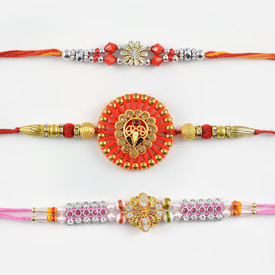 Designer Rakhi Set of 3 with Mauli String