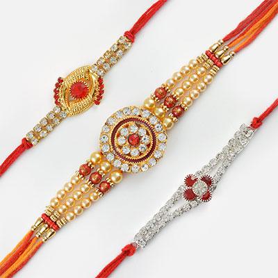 Elegant Diamonds and Pearls Rakhi Combo of 3