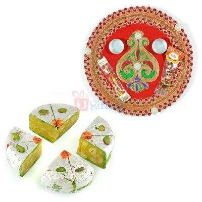 Send Rakhi Thali with Sweets to USA