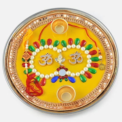 Om with Ganesha Rakhi Pooja Thali