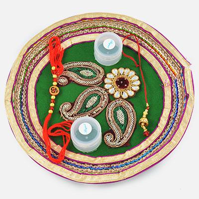 Tri-Floral Silver Pearl Gota Rakhi Pooja Thali