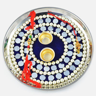 Gorgeous Mirror and Pearl Velvet Rakhi Pooja Thali