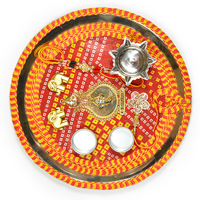 Mauli and Chunari Traditional Rakhi Pooja Thali
