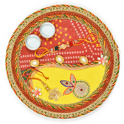 Amazing Laheriya Chunari Fancy Rakhi Pooja Thali