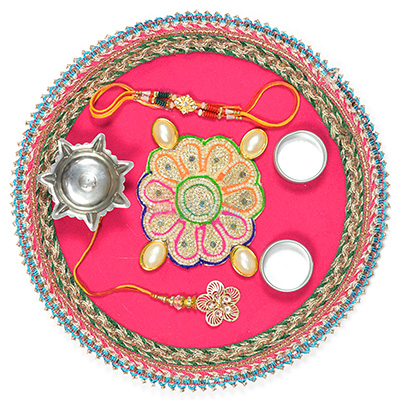 Pearl and Flower Traditional Rakhi Pooja Thali