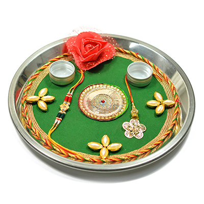 Rose and Plear Flower Rakhi Pooja Thali