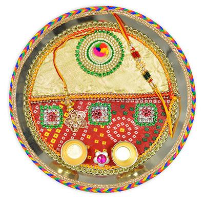 Twin Designer Chunari Rakhi Pooja Thali