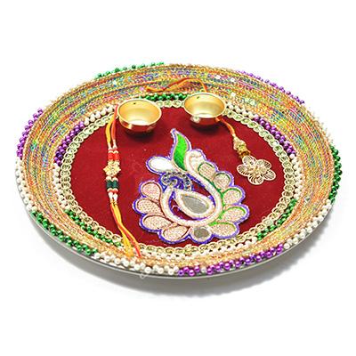 Glass and Dori Worked Awesome Rakhi Pooja Thali