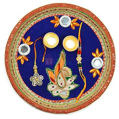 Elegant Looking Leaf Glass Rakhi Pooja Thali
