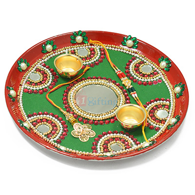 Fabulous Painted Mirror and Pearl Worked Rakhi Pooja Thali