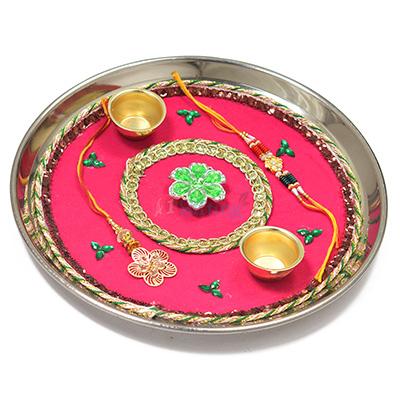 Simply Beautiful Flowered Rakhi Pooja Thali