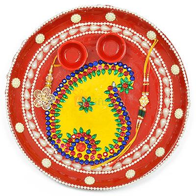 Awesome Painted Pearl Leaf Rakhi Pooja Thali