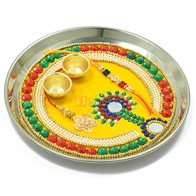Fabulous Colorful Store and Pearl Rakhi Pooja Thali