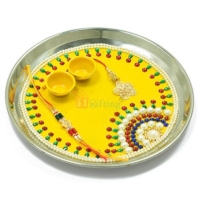Beautiful Rising Sun Pearl Beads Rakhi Pooja Thali