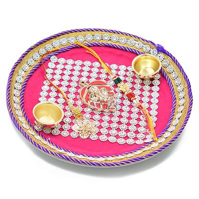 Latticed Mat Ganesha Rakhi Pooja Thali