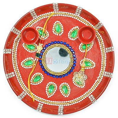 Painted Leaf of Pearl Amazing Rakhi Pooja Thali