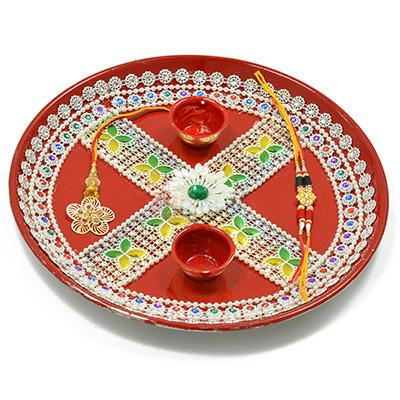 Painted Flowered Base Designer Rakhi Pooja Thali