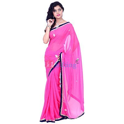 Georgette Chiffon Pearl with Velvet Border Saree
