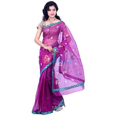 Supernet Embroidery work Saree