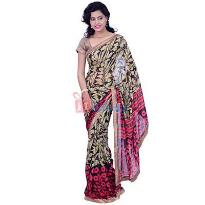 Light Weight Floral Georgette Border Saree