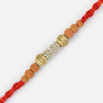 Awesome Carved Sandalwood Silver Beaded Rakhi
