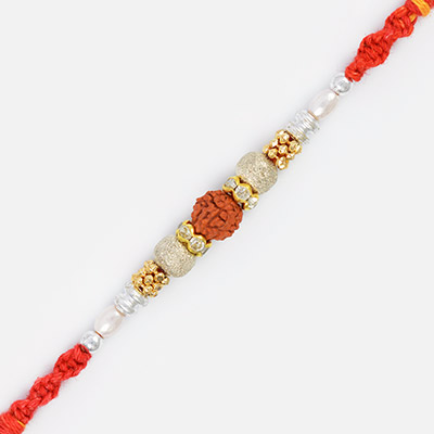 Central Rudraksha Pearl Thread Rakhi