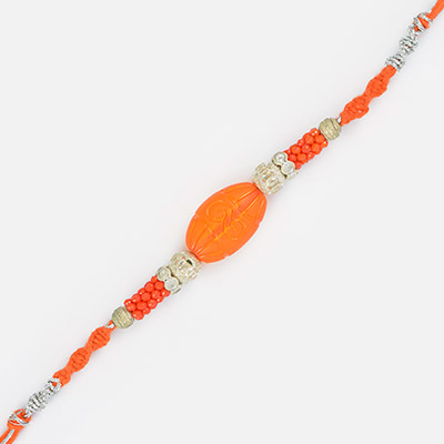 Simple Excellent Central Oval Shape with Pearl Thread Rakhi