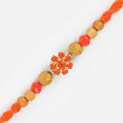 Elegant Look Golden Floral with Multi Color Beads Dora Rakhi