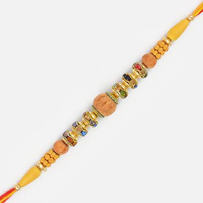 Sandalwood Type zigzag Diamond Thread Rakhi