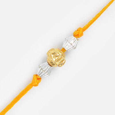Central Golden with 2 Silver Beads Thread Rakhi for Brother