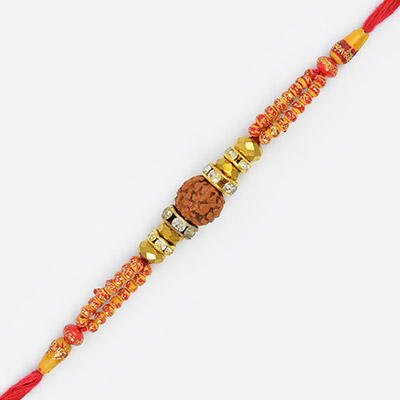 Auspicious Central Rudraksh with Cutting Beads and Diamds Thread Rakhi