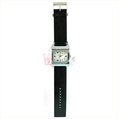 Ruby Square Rochees Watch for Men Two Tone with Leather Strap