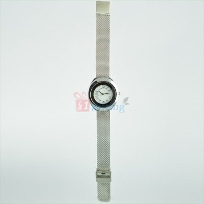 Round Wrist Watch for Women Rochees Diamond Fitted Metal Bracelet Strap