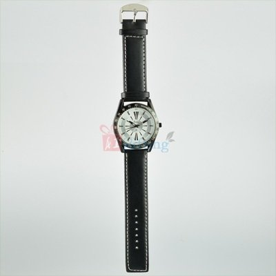 Sporty Watch for Men Round Dial Black Leather Strap