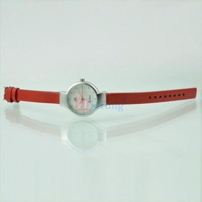 Fast Track Round Watch for Women with Leather Strap